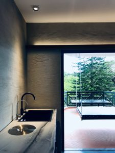 Washing basin and balcony with hanging bed at 80colonie, Fraser's Hill, Bukit Fraser's, Pahang, Highlands, highlands