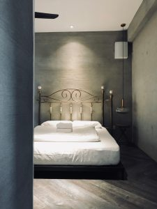Bedroom in Colonie 1121,white bed with metal headboard and hanging lamp, Fraser's Hill, Pahang, Bukit Fraser, Highlands, highland